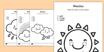 Weather Colour by Number Counting Activity Sheet - colour, number, counting, activity, colour by number, count, weather, worksheet