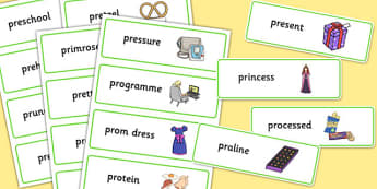 Two Syllable PR Word Cards - sen, sound, pr sound, pr, sen, two syllable, word cards