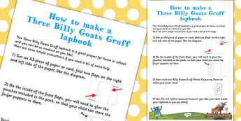 Billy Goats Gruff Lapbook Instructions Sheet - lapbooks, sheet