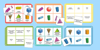 3D Shape Properties Bingo English/Polish - Requests KS1, lotto, shape properties, mastery,