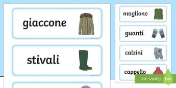 Vestiti Invernali Carte Parola - vestiti, invernali, carta, parola, vocabolario,. italian, italiano, english, bilingue