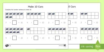 Make 10 Cars Activity Sheet - make 10 cars, worksheet, activity sheet, cards,car, number bonds to 10, numbers, counting, count