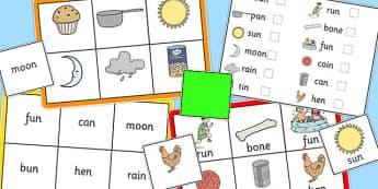 Final 'N' Sound Bingo - n sound, final, bingo, game, activity