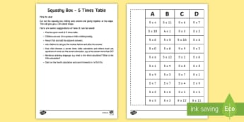 Squashy Boxes 5 Times Tables Craft - ireland, northern ireland, squashy boxes, squashy box, times tables, craft, box, activity, 5x