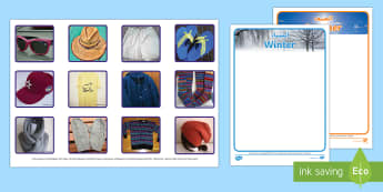Photo Summer and Winter Clothes Sorting Activity Arabic/English - seasons, EAL, cut and stick, categorise, diagram