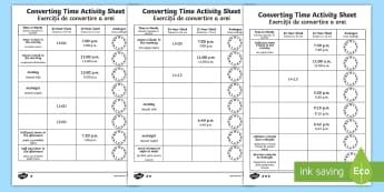 Converting Time Activity Sheets English/Romanian - Converting Time Worksheets - converting time, time conversion, analogue clocks, digital clocks, read