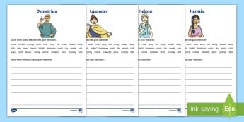 A Midsummer Nights Dream Character Description Activity Sheets - character description, desctipion, A midsummer nights dream, worksheet, shakespeare, description, de