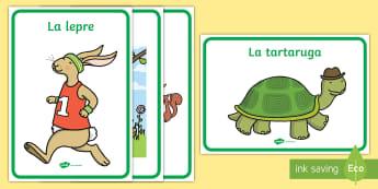 La lepre e la tartaruga Poster - le, favole, fiabe, la, lepre, e la, tartaruga, poster, materiale, scolastico, italiano, italian