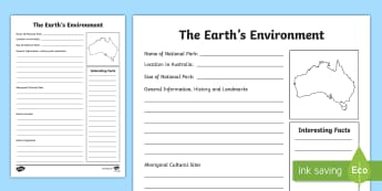 The Earth's Environment - Information Report Fact File - Literacy Integrated Unit, The Earths Environment, English, Geography, National Parks, Information Re