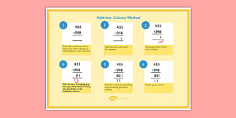 Addition Column Method 3 Digit Numbers - addition, column, method, poster, 3-digit, numbers
