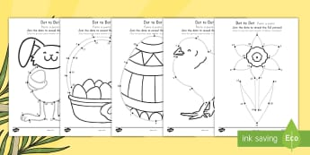 Easter Dot to Dot Activity Sheets US English/Spanish (Latin) - EYFS, Early Years, KS1, Easter, Easter Bunny, chicks, Easter eggs, number recognition, numbers to 10
