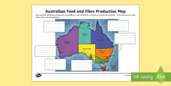 Australian Food and Fibre Production Map - food production, australian food production, australian agriculture, australian food, australian cro