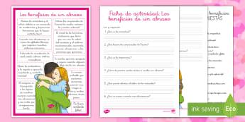 Los beneficios de un abrazo Ficha de actividad - San Valentín, abrazo, amor, amistad, amigos, relaciones, personales, sociales,Spanish