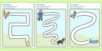 Farm Pencil Control Path Worksheets - farm, pencil control, pencil control worksheets, fine motor skills, fine motor worksheets, worksheets, farm worksheet