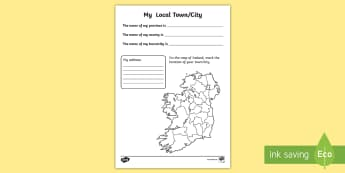 My Local Town/City Write Up Activity Sheet - ROI, The World Around Us,WAU,Irish, worksheet,