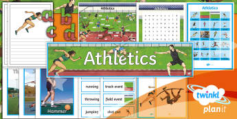 PlanIt - PE Year 5 - Athletics Display Pack - Y5, athletics, PlanIt, display, discipline, field event, track event, running, throwing, jumping, sh