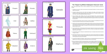 The Tempest Character Cards Pack - The Tempest, game, revision, cards, Prospero, Shakespeare, starter, plenary.