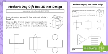 Mother\'s Day Gift Box 3D Net Design Activity Sheet - Mother's Day Maths, maths, mother, mother's day, mum, ACMMG140, 3D, 2D, 3D nets, nets, prism, pris