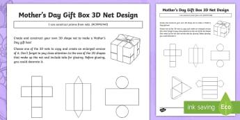 Mother\'s Day Gift Box 3D Net Design Activity Sheet - Mother's Day Maths, maths, mother, mother's day, mum, ACMMG140, 3D, 2D, 3D nets, nets, prism, pris
