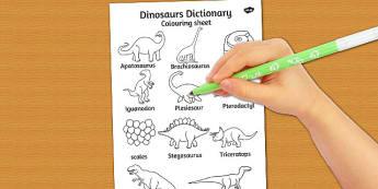 Dinosaurs Dictionary Colouring Sheet - dinosaurs, colouring sheet