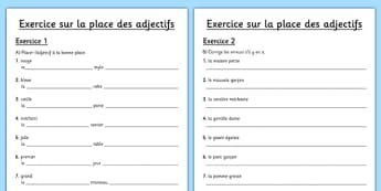 La place des adjectifs Activity Sheet French - french, La place, des adjectifs, adjectives, language, worksheet