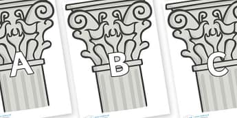 A-Z Alphabet on Columns - A-Z, A4, display, Alphabet frieze, Display letters, Letter posters, A-Z letters, Alphabet flashcards