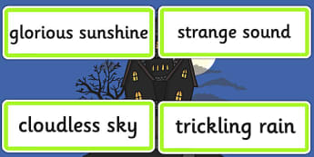 Setting Describing Word Cards - visual aid, writing aid, keywords