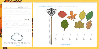 Autumn Pencil Control Worksheets - fine motor skills, seasons