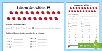 Subtraction within 19 Activity Sheet - NI KS1 Numeracy, subtraction within 19, homework, home learning, worksheet.