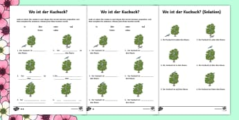 Spring Themed Location Prepositions Activity Sheet - Spring, Prepositions, Location words, German, cuckoo
