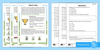 KS1 Sports Day Differentiated Comprehension Go Respond Activity Sheets - Activities, P.E., Interactive, Facts, Information, Non-fiction, tablet, Questions