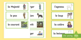 Le Loup et l'Agneau Word Cards -  KS2, French, Fables, Jean De La Fontaine, The Wolf and the Lamb, Word Cards,,French
