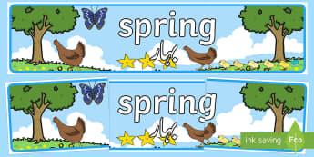 Spring Display Banner English/Urdu - Spring Display Banner - Spring, Display banner, poster, display, lambs, daffodils, new life, flowers
