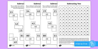 Subtracting Tens Go Respond Activity Sheet - year 2, maths, homework, place value, subtracting tens, take away, minus, subtract, number square, n