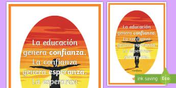 Póster DIN A2: La educación genera confianza - póster, mural, exposición, exponer, decorar, decoración, confucio, frase, motivación, educación