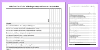 1999 Curriculum 6th Class Maths Shape and Space Assessment Group Checklist - roi, gaeilge, ireland, republic of ireland