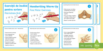 Fine Motor Handwriting Warm Up Exercise Cards English/Romanian  - Handwriting day, handwriting warm ups, finger strengthening exercises, finger and hand exercises.,Ro