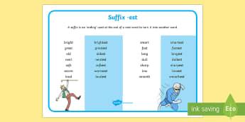 suffix with est - - est, suffixes, words, grammar
