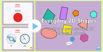 Every Day 2D Shapes PowerPoint - English/Italian - Every Day 2D Shapes PowerPoint - numeracy, shapes, 2d, powerpoint, 2D, shapes, 2D shapes, powerpoint