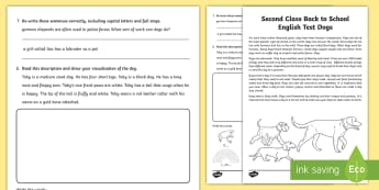 Back to School Second Class English Test - ROI Back to School Resources, phonics, reading, comprehension, visualisation, building bridges, 2nd