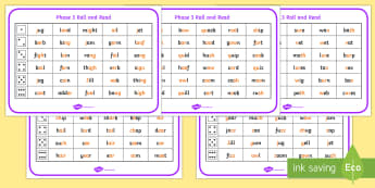 Phase 3 Mixed Roll and Read Mats Resource Pack - Phase 3 Complete Phoneme Roll and Read Mat - phase 3, phoneme, phas 3, pase 3