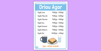 Cafe Opening Times Welsh Translation - roleplay, EAL, languages