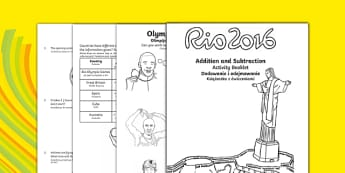 Year 2 Rio Olympics Addition and Subtraction Activity Booklet Polish Translation - polish, 2016 Rio Olympics, maths, KS1, Year 2, challenges, problem, solve, reason, predict, word problem, add, addition, plus, total, altogether, sum of, greater than,