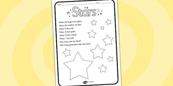 Star Colouring Comprehension Sheet - colouring, comprehension