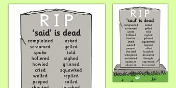 Said is Dead Display - said is dead, alternative words for said, alternative words, display poster, word posters, alternative word poster