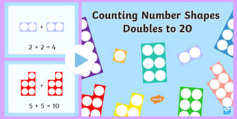 Counting Number Shapes Doubles to 20 PowerPoint - doubling to twenty, doubling to 20, doubles, double, doubling, 20, twenty