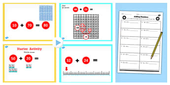 Y2 Adding 2 Digit Number Not Cross 10 or 100 Lesson Teach Pack