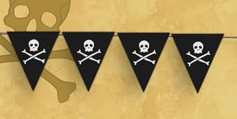 Pirates Jolly Roger Display Bunting - Pirate, Pirates, Flag, pirate bunting, Topic, Display, Posters, Freize, play, pirate, pirates, treasure, ship, jolly roger, ship, island, ocean