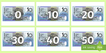 Counting in 10s on $10 Notes Display Numbers - Australian notes, counting in 10s, ten dollars, counting to 100, skip counting, tens, adding money,