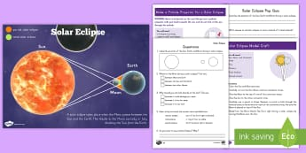 Grade 3-5 Solar Eclipse Activity Pack - solar eclipse, solar eclipse 2017, earth science, earth moon and sun, solar and lunar eclipse